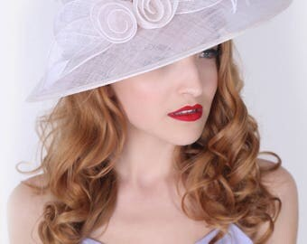"""Ivory Sun Hat - """"Rosy Anne"""" Ivory Wide Brimmed Fascinator Sun Hat w/ mesh flowers and feathers"""