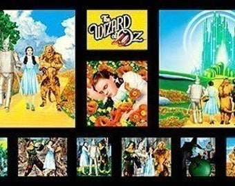 "Wizard of Oz Yellow Brick Road  24"" Panel Cotton Quilting Fabric by Quilting Treasures OOP VHTF"