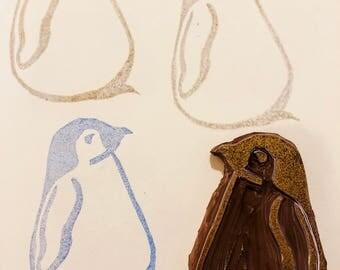 "Emperor Penguin Stamp - Hand Carved Linoleum Block 2"" x 3"" - Made to Order"