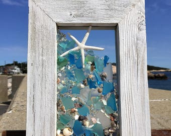Star fish with pale blue beach glass