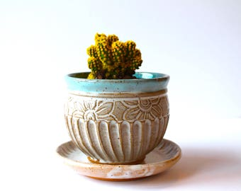Succulent Planter and Saucer, 100% Handmade Pottery, Ceramic Handmade Wheel-Thrown, Speckled White and Blue Glaze by RiverStone Pottery