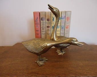 Vintage Pair Brass Long Neck Duck Figurines, brass ducks