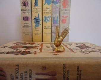 Vintage Brass Miniature Rabbit Head Figurine, rabbit miniature