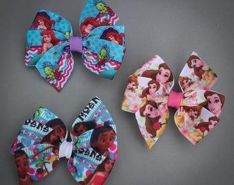 Princess Hair Bow Set, Belle bows, Moana Bows, Ariel Bows, Princess pinwheel bows, Small Princess bows, Princess Bow Set of 3, Princess Bows
