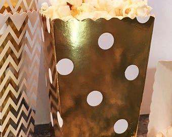 GLAMSALE 24 Gold Foil Party Favor Boxes, Gold Foil Wedding Favor Boxes, Cookie Boxes, Candy Boxes, Donut Boxes, Mini Snack Boxes, Party Trea