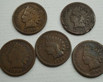 5 Indian Head Penny's  1892, 1892, 1897, 1894, 1893. lot 3