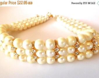 SALE Vintage Faux Pearl/Clear Rhinestone Choker Necklace triple strand Bride Prom Stylish