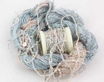 Beige and Grey Beaded Embroidery thread with seed beads sequins hand dyed sewing ribbon weaving supply quilting embellishment bead yarn