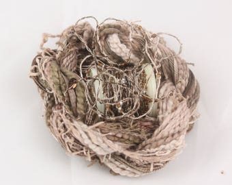 Coffee Latte Brown Beige hand dyed Beaded Embroidery thread seed beads sequins weaving supply quilting embellishment yarn Waldorf doll hair