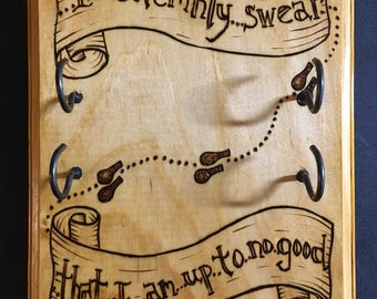 I Solemnly Swear that I am up to no Good-  Wand Display Rack - Handmade Plaque