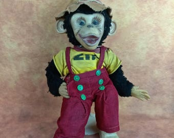 """VTG 1950's Zip the Monkey Plush Toy//16""""//Howdy Doody Show Monkey//Monkey with Red Overalls//Aged and Worn to Perfection//Nostalgic Display"""