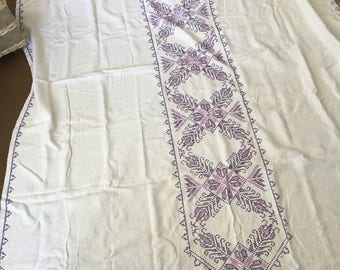 Vintage Hand Cross Stitched Tablecloth Purple, Ultra Violet
