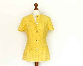 Vintage Yellow Blouse Top Shirt / Floral / See Through / Embroidered / Buttoned / Short sleeves / Summer / small medium