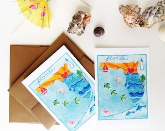 Florida Notecards - Florida Map - Tourism Art - Set of Eight