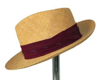 Vintage 1950s Straw Fedora Panama Hat by Stetson Size 7