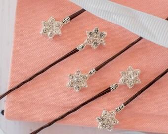Diamante Flower Hair Pins, Diamante Hair Slides, Flower Bobby Pins, Rhinestone Hair Pins, Flower Girl Pins, Flower Girl Accessories
