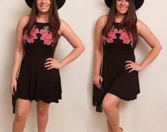 Beautiful Black Roses Flare Dress