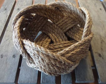 "FREE SHIP Nautical Knotted Rope Bowl Basket 10"" x 5"" Tightly Woven Beach Marine Ocean Coastal"
