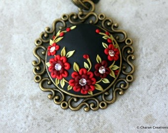 Elegant Polymer Clay Applique Statement Pendant Necklace in Black and Red