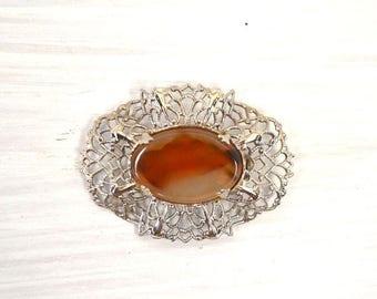 FIRE SALE 25% Off Amber Filigree Brooch - 1950s Silver Tone Orange Gemstone Brooch - Vintage Costume Jewelry Pin