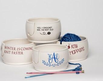 Personalized Yarn Bowl   Gift for Mom   Yarn Bowl   Custom Yarn Bowl   Pottery and Ceramics handmade in my Charleston, SC Studio