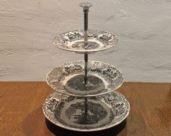 Vintage 3 Tier Stand, tiered cake stand - 3 plates stand Fruit Cake stand - Cartuja de Sevilla Pickman - 50s Three Tiered Cupcake Dessert