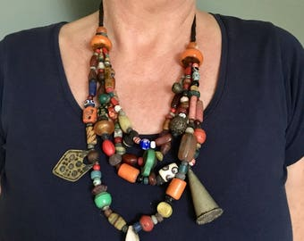 Moroccan Berber Necklace with Old various Colorful Beads, Resin, Metal & Old plastic, Glass, Cornelean, Shell and wooden Beads s