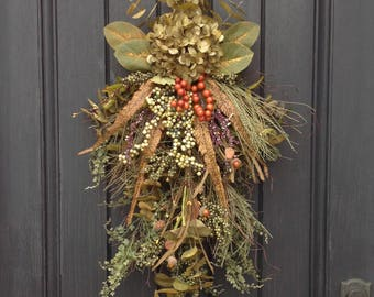 Spring-Summer-Fall Wreath-Teardrop Wreath-Vertical Door Decor-Swag Decor-Use Year Round-Green Hydrangea-Feathers-Wispy-Indoor/Outdoor Decor