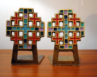Religious CROSS Bookends by Terra Sancta Guild, 1960's Israel