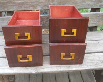 4 Vintage Sewing Machine Drawers-Cherry Wood-Art Deco pulls