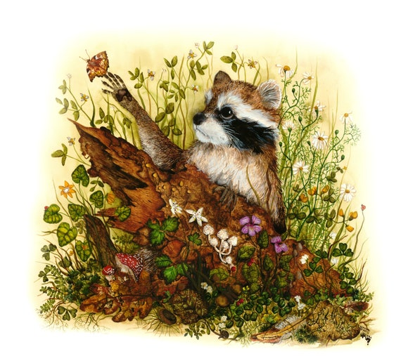 Blank Greeting Card- Nature and Raccoon -Thank You Note -Bird Art