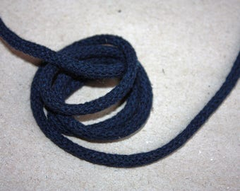 3 mm NAVY BLUE Cotton Rope = 5 Yards = 4.57 Meters of Elegant Cotton Braided Cord - Bulky Yarn - Super Bulky Yarn - Macrame Cotton Cord