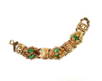 Repousse Peking Glass Jade Bracelet // Antique Art Nouveau Jewelry