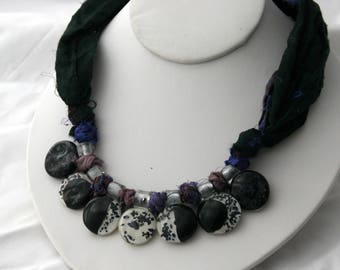 Glass and Silk Moon Phase Necklace