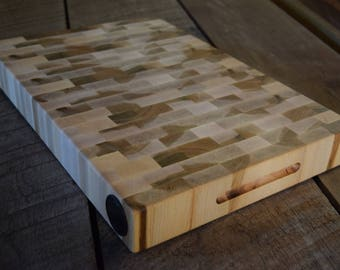 End Grain Cutting Board Solid Maple With Built In Knife Honer Ceramic  Butcher Block