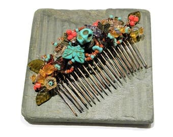 Dia de los Muertos Hair Comb Southwest Style, Mexican Folk Art in Copper and Turquoise WJ105