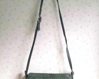 Vintage Ganson Woven Green Leather Handbag