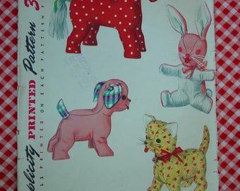 Vintage Pattern c.1954 Simplicity No.4915 Set of Stuffed Toys Horse,Rabbit,Cat,Dog