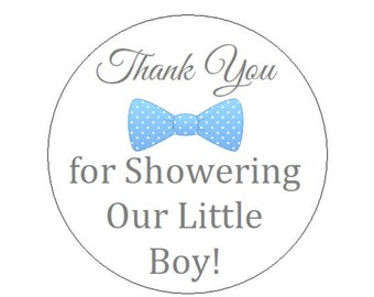 Baby Shower Blue & Gray (Grey) Bow Tie Thank You Round Party Favor Stickers - Thank You Labels  **Discounts Available