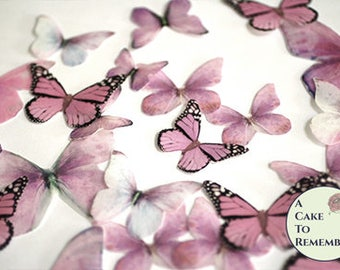 26 Soft Pink Edible Butterflies. First Birthday Party Ideas, Rustic Wedding  Cakes, Baby