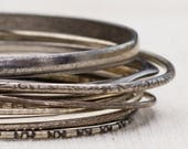 Silver Thin Patterned Textured Floral Vintage Bracelet Bangle Set Stackable Costume Jewelry Cuff 7AQ A