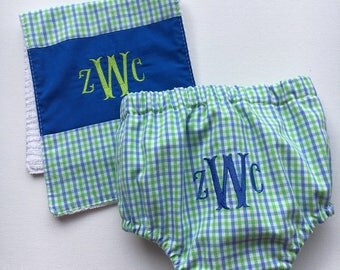 Diaper Cover & Burp Cloth set for HIM, baby shower, set ,infant, baby, FREE MONOGRAM, diaper pants, swim suit, toddler, swim pants covers