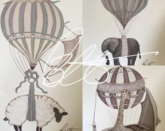 "Limited Edition Set of 3 *5x7 or 8x10 original signed Prints ""Hot air Balloons & Animals"" Vintage or gender neutral colors"