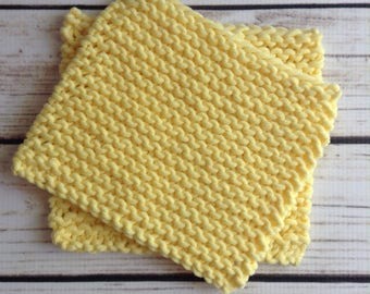 Pale Yellow Washcloth, Two Baby Washcloths, Cotton Washcloth, Knit Washcloth, Knit Wash Rag, Luxe Washcloth, 2 Pack Washcloth, Bathroom