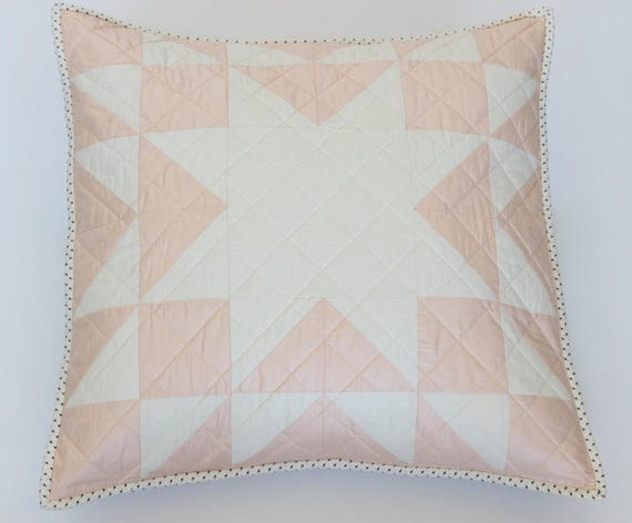 Peach Farmhouse Star Patchwork Throw Pillow