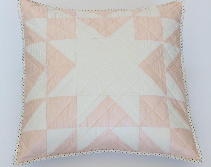Blush Peach Star Patchwork Throw Pillow