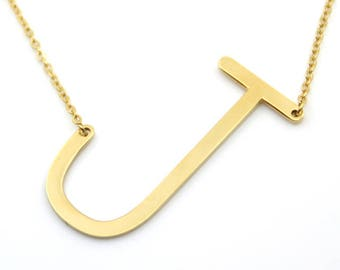 Gold Sideways Initial Necklace - Large Initial Necklace - Letter Necklace -Layering Necklace - Gold Personalized Letter Necklace - Gift