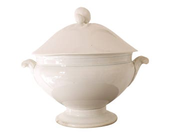 French Soup Tureen ironstone stonewear white  french Creil and Montereau Jean d'arc living
