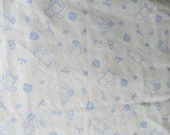 Blue Toile Disney Pooh Butterfly Hunny Pot Creamy White 41 x 41 Handmade Flannel Receiving Swaddle Baby Blanket