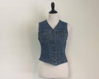 Vintage American Eagle Jeans Vest // Vintage Ladies' Denim Vest // Vintage AE Ladies' Denim Vest